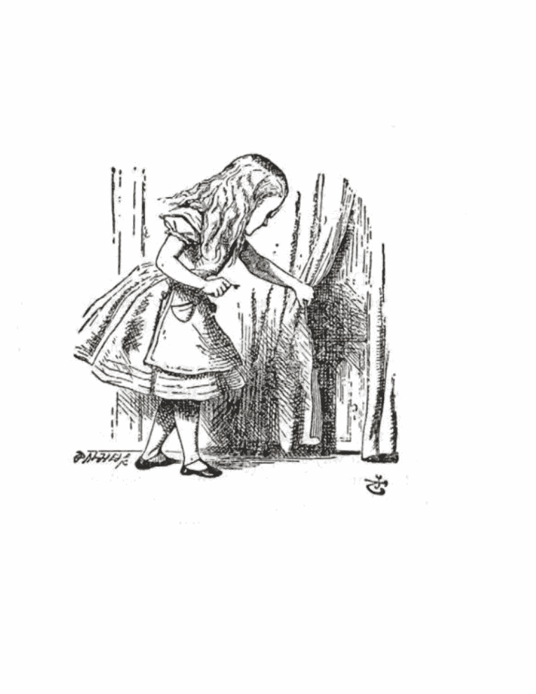 Alice pulls back the curtain on the door to Wonderland.