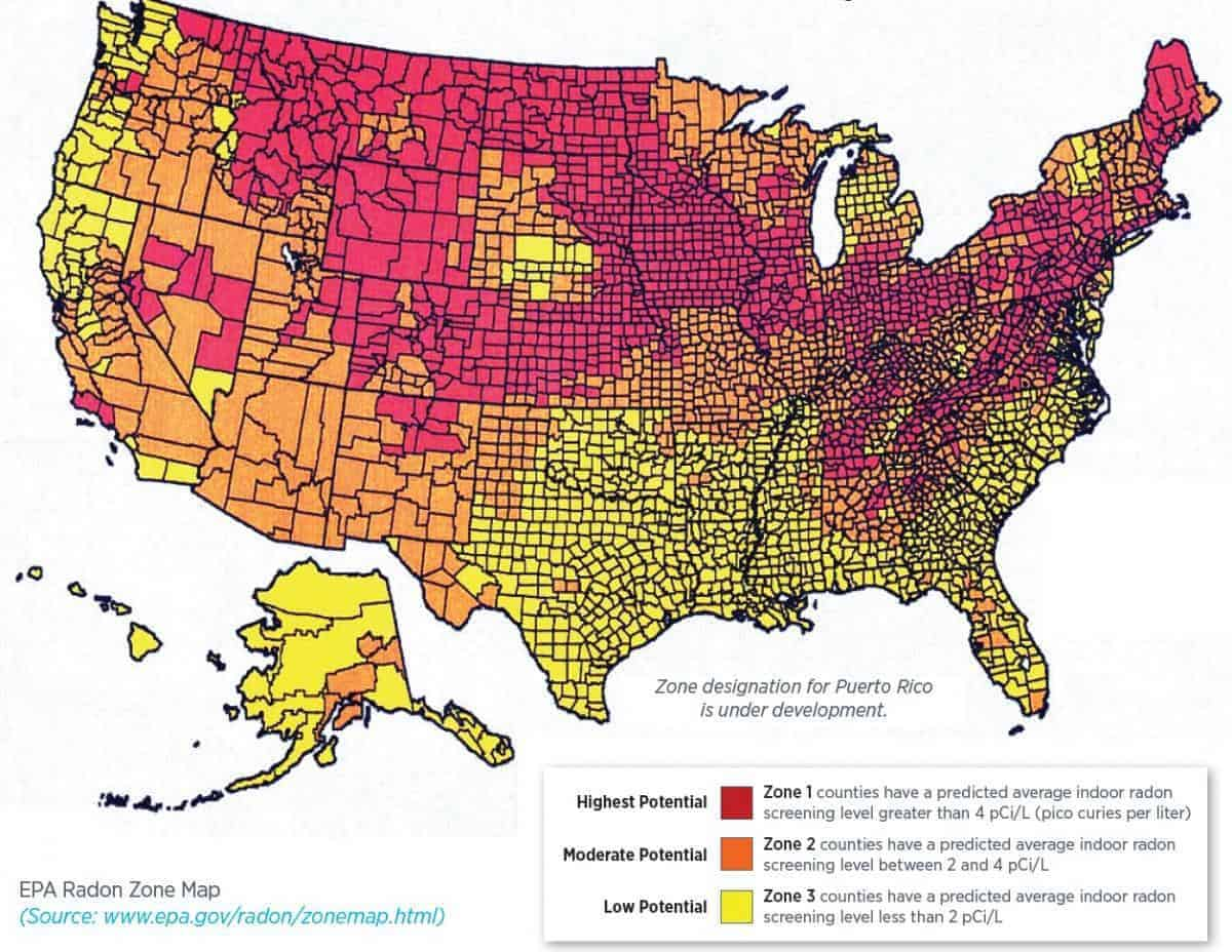 Map of US Radon Gas Concentrations